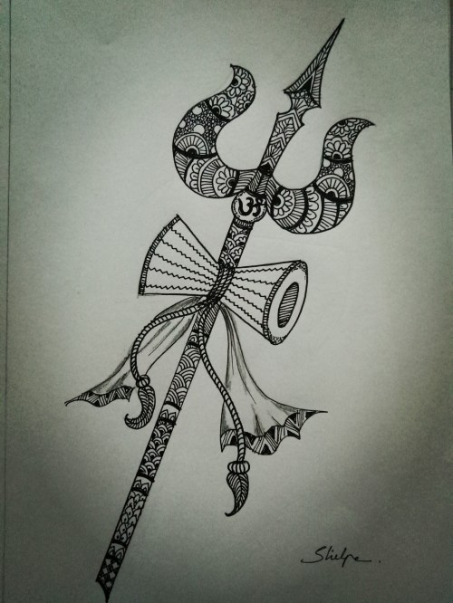 Trishul, in Zentangle.