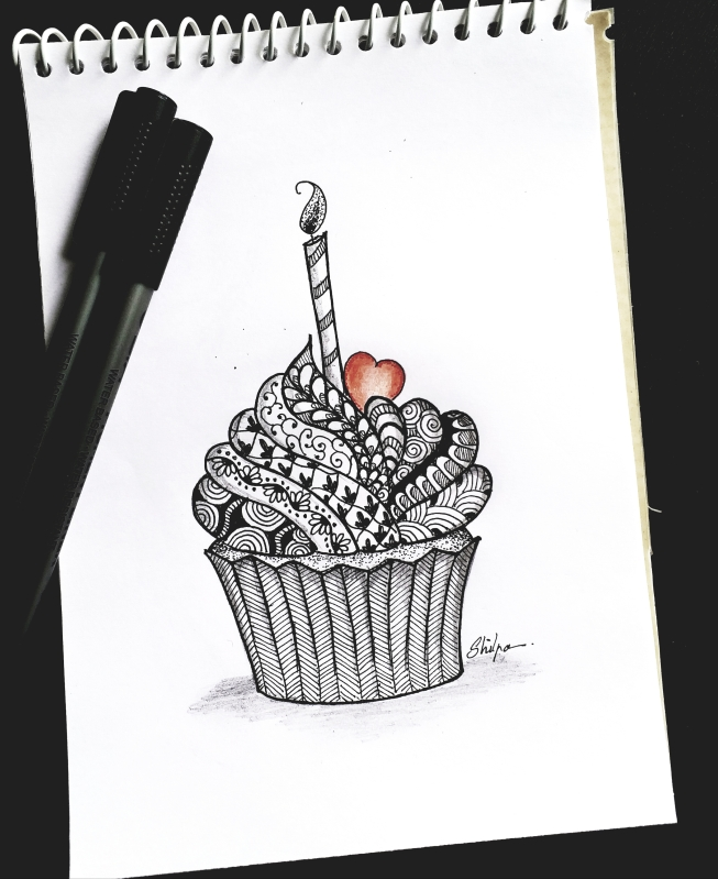 Cupcake in Zentangle